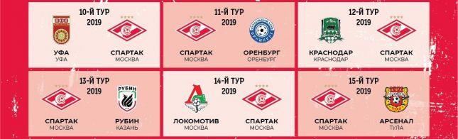 футбольный клуб спартак расписание матчей в москве